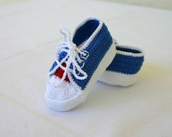 Newborn baby sneakers 0-3 month red blue white crochet shower gift patriotic July 4 boy soft soled booties infant tennis shoes masculine