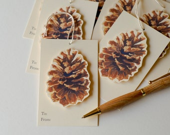 Pine Cone Tags for Gift wrapping and Favors  - Winter - Christmas - Holiday