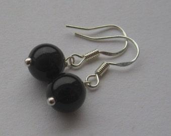 Simple Mystic Black 8mm Swarovski Pearl Sterling Silver Earrings