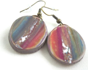 Rustic earrings natural colors in polymer clay