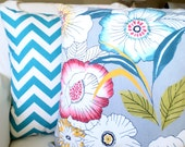 Pillows Decorative Throw Pillows Cushion Covers Gray Floral True Turquoise White Zig Zag  - Combo Set 18 x 18