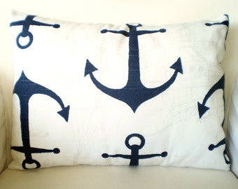 Navy Blue Nautical Pillow Cover, Decorative Throw Pillows, Cushions, Navy Blue White Anchor, Beach Cottage Pillow, One 12 x 16 or 12 x 18