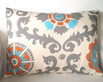 Aqua Orange Lumbar Throw Pillow Cover, Cushion, Orange Grey Aqua Natural Rosa, Couch Pillow, Accent Pillow, Couch One 12 x 16 or 12 x 18