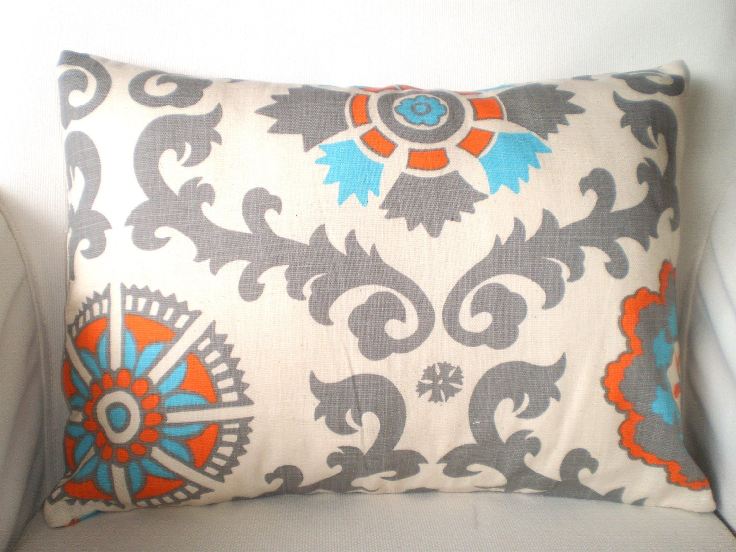 aqua orange lumbar throw pillow cover cushion orange grey. Black Bedroom Furniture Sets. Home Design Ideas