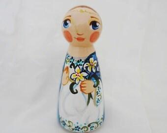 Saint Gabriel or Gabrielle Archangel Catholic Saint Doll - Wooden Toy - Made to Order