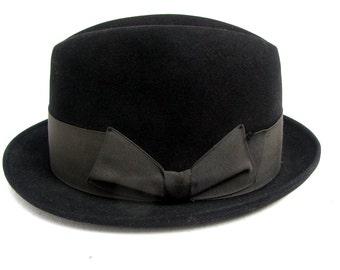 Vintage Mens Resistal Hat Black 1960s Mod Rude Boy Fedora Mns size 7  Medium