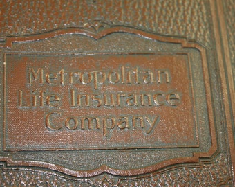 Embossed Vinyl Document Keeper 1950s Metropolitan Life Insurance Co