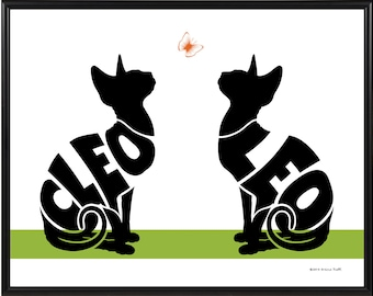 Personalized Pair of Sphynx Cats Print, Framed 11x14 Silhouette Print, Sphynx Wall Decor