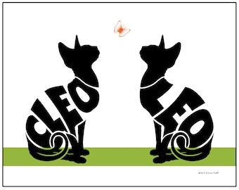 Personalized Pair of Sphynx Cats Silhouette Print, Sphynx Name Art, Gift for Sphynx Owner