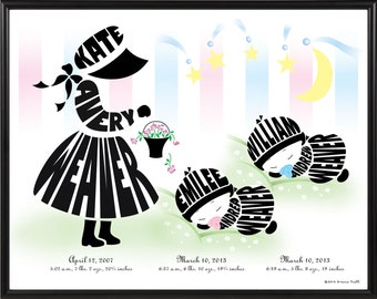 Personalized Little Girl with Twin Baby Sisters or Brothers Print, Gift for Twin Baby Boys or Gift for Twin Baby Girls, Twin Nursery Decor