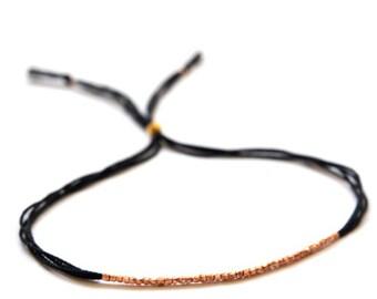 Rose gold beads on black silk. Silk bracelet. Friendship bracelet