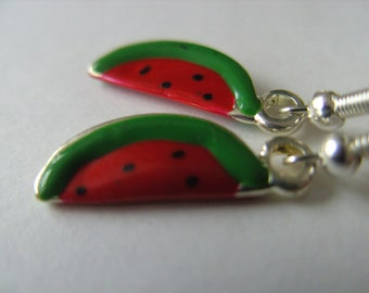Watermelon, red and green, earrings, 3d, fruit, enamel, etsy uk, by NewellsJewels on etsy