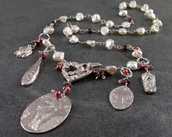 Hawaiian charm necklace, handmade fine silver, pearl jewelry, OOAK Kauai Summer Romance