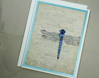 Dragonfly Glittered on French Ephemera Insect Wings Parchment Handmade Blank Greeting Card
