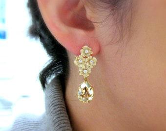 Swarovski golden shadow teardrop earrings with flower bouquet gold post earrings - Free US shipping