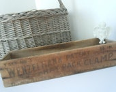 Vintage Primative Wood Box Wenzelmann Hay Rack Clamp Rustic Crate Antique Farmhouse Barn Find Aged Patina Home Decor AMarigoldLife