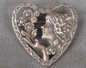 Pretty Pretty Sterling Heart Brooch Lady Flower Marcasite Pin