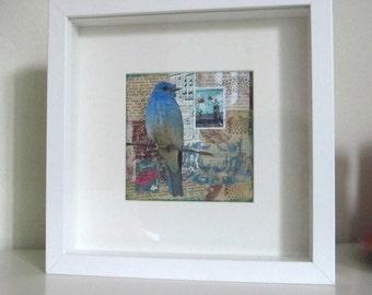 "Blue bird - an original mixed media collage - 4 3/4"" x 4 3/4"""