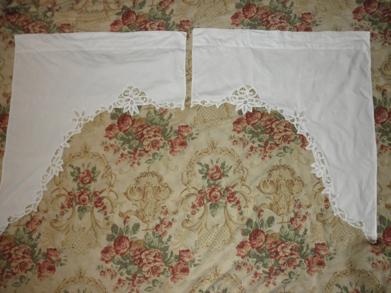 pair of matching battenburg lace curtains white by junquedujour