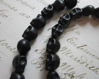 40 stone SKULL beads - howlite, 10mm - BLACK