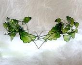 Spring crown, Wedding crown, Wedding accessories, Green crown, Leaf crown, Handmade crown, Pagan wedding, Wedding circlet, Handfasting crown