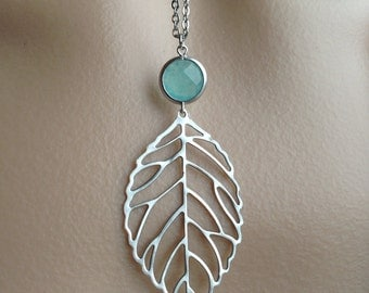 Bohemian Silver Outline Leaf in Mint Jade - long necklace, gift, bridesmaid, beach, mother, sister, daughter, wife, romantic