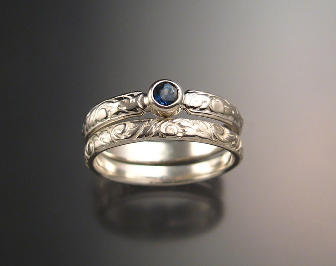 Sapphire Wedding set sterling silver Victorian bezel set two ring set made to order in your size