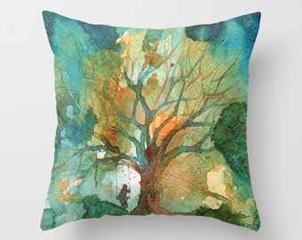 Tree and His Person Watercolor Throw Pillow Cover