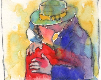 The Kiss Watercolor Painting Signed Giclee Print