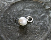 June Birthstone Pendant, Sterling Silver Wire Wrapped White Freshwater Pearl - Add a Dangle