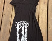 Silver Birch Dress- silver birch trees hand screen printed on cotton/polyester blend, super soft and comfy tee shirt dress