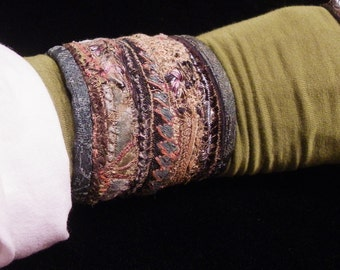 Cuff Little Knot Blue Green Silk Ecru Lace Black Peace Hmong Japanese Silk Cuff Boho Hippie Gypsy Fabric Bracelet