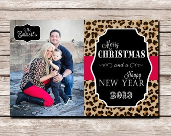 Cheetah Christmas Card - Digital File