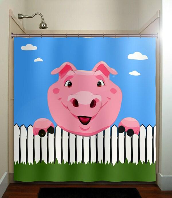 picket fence pig shower curtain bathroom decor fabric kids. Black Bedroom Furniture Sets. Home Design Ideas