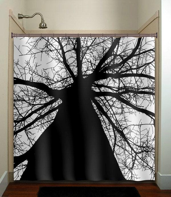 Black Trunk Tree Shower Curtain Bathroom Decor Fabric Kids