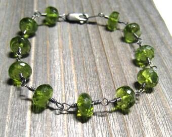 Clearance Sale, Peridot Bracelet, Green Gemstone, Sterling Silver, August Birthstone Jewelry, Handmade Bracelet