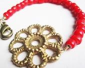 Vintage Brass Hardware Rosette & Glass Bead Bracelet - Tomato Red