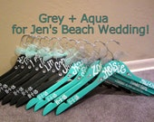 hand painted wood hangers for bridesmaids, flower girls, and wedding party. Done in any color to match your wedding theme.