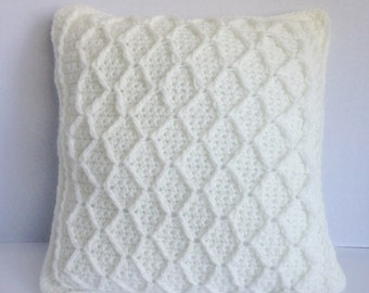 crochet pillow off white crochet , handmade crochet pillow off white , pillow crochet  off white handmade