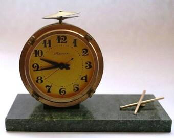 Working Soviet Clock - Molnija / Molniya - Brass and Marble - Drum / Baraban - Desk Mantle Clock - 1970s - from Russia / Soviet Union / USSR