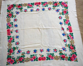 "Russian Shawl Scarf Vintage - Pink Roses on White - Wool - 32"" inches - From Russia / Soviet Union / USSR"