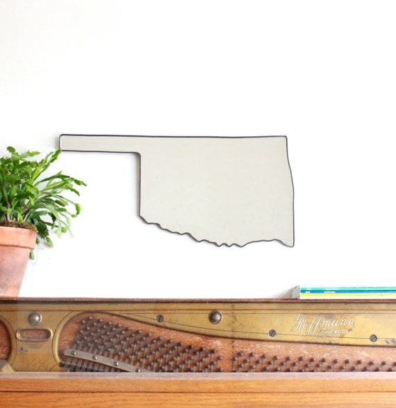 Oklahoma Mirror / Wall Mirror State Outline Silhouette OK Shape Wall Art Modern Accent Mirror