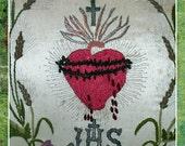 Vintage Sacred Heart Embroidered on Silk