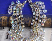Audrey - Vintage Aurora Borealis Crystal Statement Necklace - SALE was 75.00
