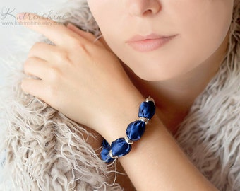 Dark blue fabric bead bracelet
