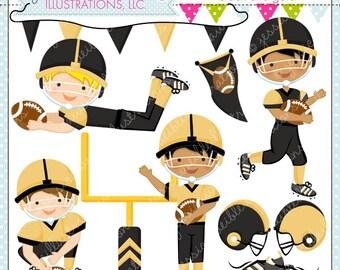 Football Season V3 - Black & Gold - Cute Digital Clipart - Commercial Use OK - Football Clipart - Football Graphics - Cute Football Clipart