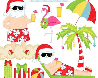 Sun Tan Santa Cute Digital Clipart - Commercial Use OK - Christmas Clipart, Tropical Christmas, Beach Christmas, Beach Santa