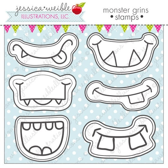 Monster Grins Cute Digital Line Art Stamps Black and White