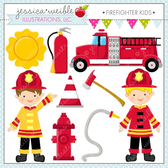 Kids Cute Digital Clipart - Commercial Use OK - Firefighter Clipart ...