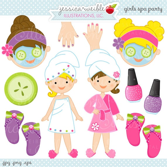 Nails Art Salon For Girls: Girls Spa Party Cute Digital Clipart Commercial By